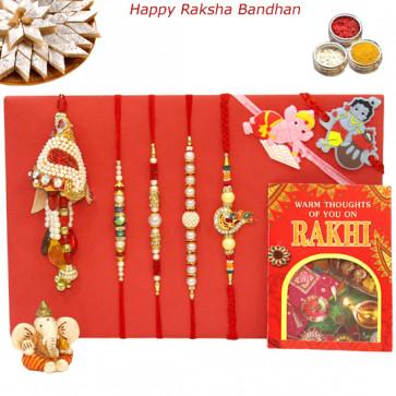 Rakhi Family Set - 3 Pearl Rakhis with Diamond, Lumba and 2 Kids Rakhis