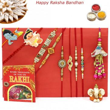 Rakhi Family Set - 2 Auspicious Rakhis with 2 Diamond, 2 Pearl, Lumba and 2 Kids Rakhis
