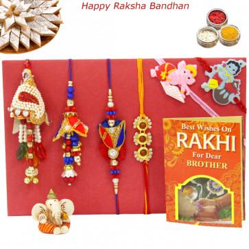 Rakhi Family Set - Bhaiya Bhabhi Rakhi Pair with Rudraksha, Lumba and 2 Kids Rakhis