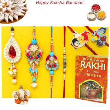 Rakhi Family Set - Bhaiya Bhabhi Rakhi with Pearl, Lumba and 2 Kids Rakhis