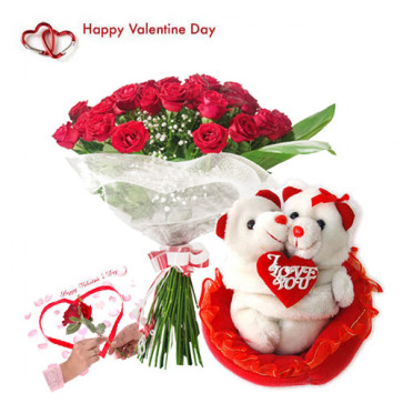 Hugging Teddy & Roses - 30 Red Roses Bouquet + Hugging Teddy + Card