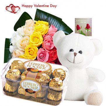 Cute Valentine Gift - 20 Mix Roses + Teddy 6 inch + Ferrero 5 pcs + Card