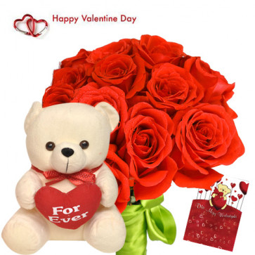 "Flower with Teddy - 12 Red Roses Bunch + Teddy with Heart 6"" + Card"