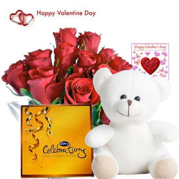 Choco with Teddy - 15 Red Roses + Cadbury Celebration + Teddy 6 inch + Card