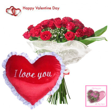 Lovable Heart - 15 Red Roses Bouquet + Heart Pillow + Card