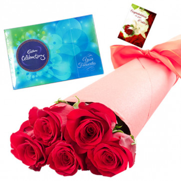 Roses for Celebration - 6 Red Roses Bunch, Cadbury Celebrations + Card