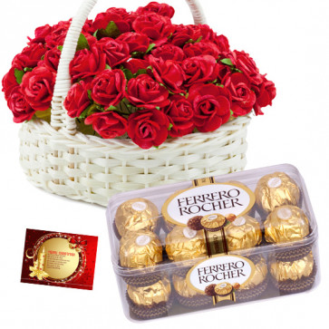 Basket with Ferrero - 50 Red Roses in Basket, Ferrero Rocher 16 Pcs + Card
