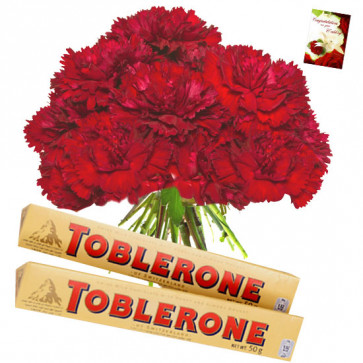 Carnation Crunch - 12 Red Carnations Bunch, 2 Toblerone + Card