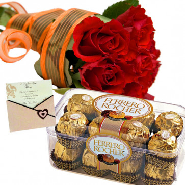 Roses with Ferrero - 15 Red Roses Bunch, Ferrero Rocher 16 Pcs + Card