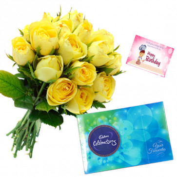 Rosey Celebrations - 6 Yellow Roses Bunch, Cadbury Celebration + Card