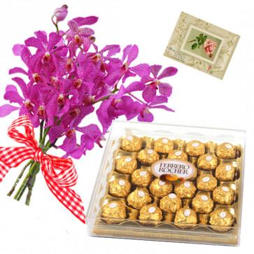 Orchids N Ferrero - 9 Purple Orchids Bunch, Ferrero Rocher 24 Pcs + Card