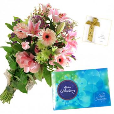 Pink Flowers N Cadbury - 12 Pink Flowers Bunch, Cadbury Celebration + Card