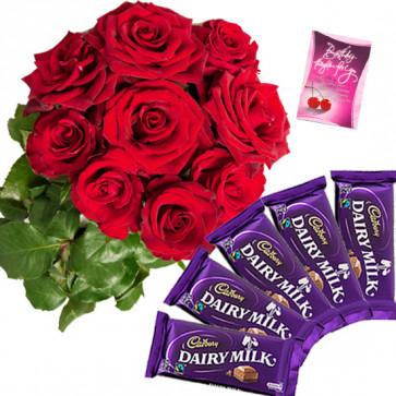 Roses N Cadbury - 6 Red Roses Bunch, 5 Dairy Milk + Card