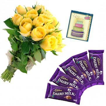 Yellow Rose - 10 Yellow Roses Bunch, 5 Dairy Milk + Card