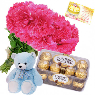 Pink Choco N Teddy - 12 Pink Carnations Bunch, Ferrero Rocher 16 Pcs, Teddy Bear 8 inch + Card