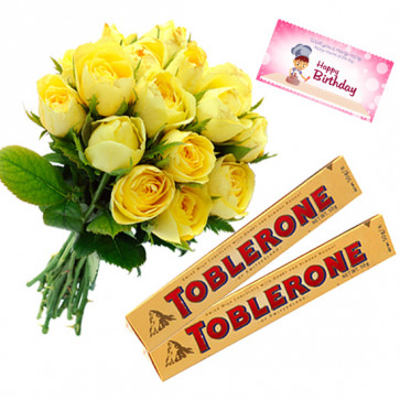 Roses N Toblerone - 10 Yellow Roses Bunch, 2 Toblerone + Card