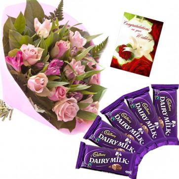 Roses N Dairy Milk - 6 Pink Roses Bunch, 5 Dairy Milk + Card