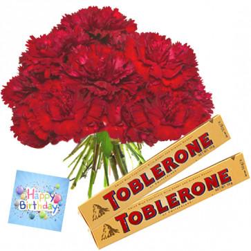 Carnations N Toblerone - 20 Red Carnations Bunch, 2 Toblerone + Card
