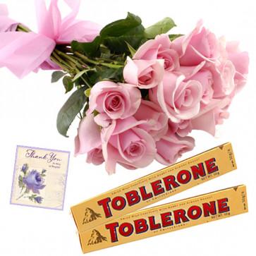 Rose N Toblerone - 10 Pink Roses Bunch, 2 Toblerone + Card