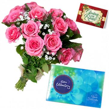 Pink Celebrations - 6 Pink Roses Bunch, Cadbury Celebration + Card
