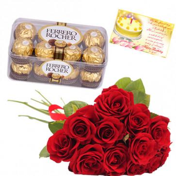 Rose n Rocher - 20 Red Roses Bunch, Ferrero Rocher 16 Pcs + Card