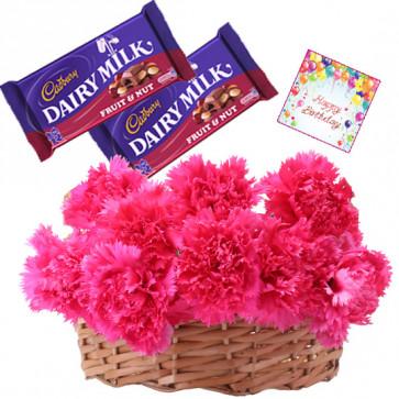 Basket Nuts - 20 Pink Carnations Basket, 2 Fruit N Nut + Card