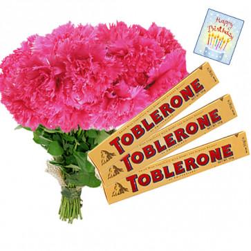 Pink Crisp - 20 Pink Carnations Bunch, 3 Toblerone + Card