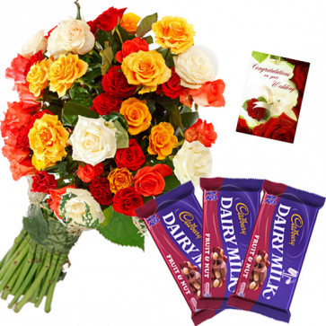 Mix N Nut - 20 Mix Roses Bunch, 3 Fruit n Nut + Card