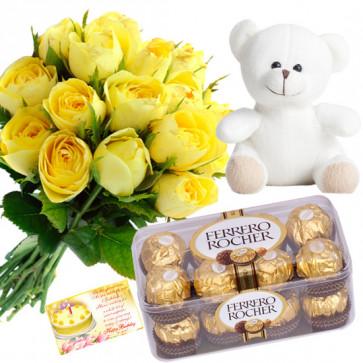 Rose Choco Teddy - 12 Yellow Roses Bunch, Ferrero Rocher 16 Pcs, Teddy Bear 8 inch + Card