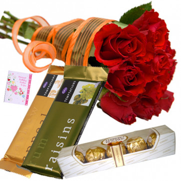 Roses n Chocolates - 12 Red Roses Bunch, 2 Temptations, Ferrero Rocher 4 Pcs + Card