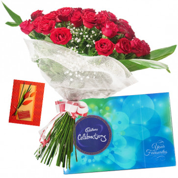 Celebrations with Roses - 35 Red Roses Bunch, Cadbury Celebration + Card