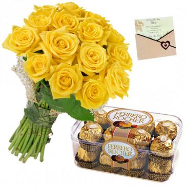 Ideal Roses - 12 Yellow Roses Bunch, Ferrero Rocher 16 Pcs + Card