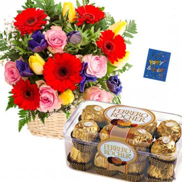 Love with Ferrero - 20 Colorful Flowers Basket, Ferrero Rocher 16 Pcs + Card