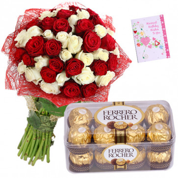 White N Red Ferrero - 15 Red & White Roses Bunch, Ferrero Rocher 16 Pcs + Card