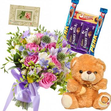 Mix Choco Teddy - 15 Mix Colour Flowers Bunch, 5 Assorted Bars, Teddy Bear 6 inch + Card