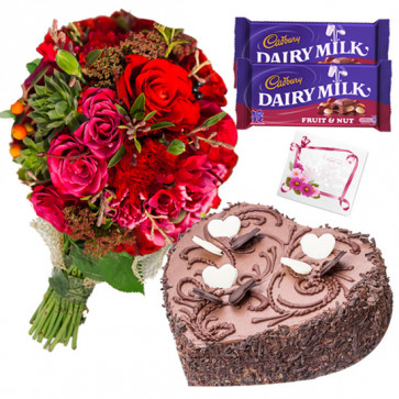 Colorful Crunch - 15 Red & Pink Roses & Red Carnations Bunch, 2 Fruit n Nut, 1 Kg Heart Shaped Black Forest Cake + Card