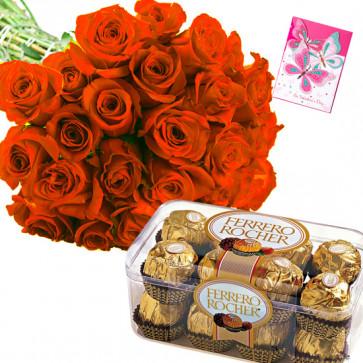 Flowery Ferrero - 25 Orange Roses Bunch, Ferrero Rocher 16 Pcs + Card