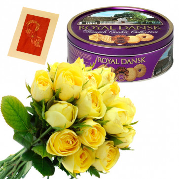 Present to Treat - 18 Yellow Roses Bunch, Danish Butter Cookies 454 gms + Card