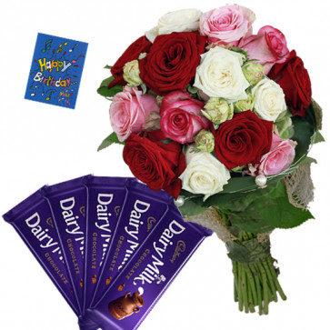 Mix of Treat - Bunch of 20 Mix Roses, 5 Dairy Milk + Card