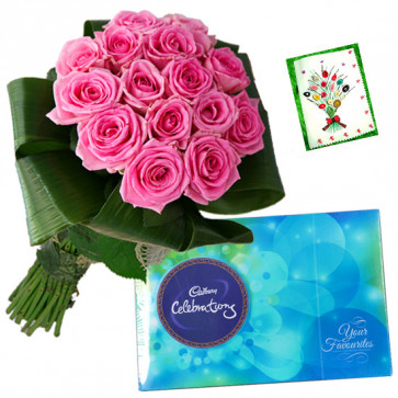 Offerings With Love - 14 Pink Roses Bunch, Cadbury Celebration + Card