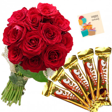 Care N Love - 12 Red Roses Bunch, 5 Five Star + Card
