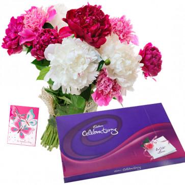 Bountiful Love - 10 Mix Carnations Bunch, Cadbury Celebration + Card