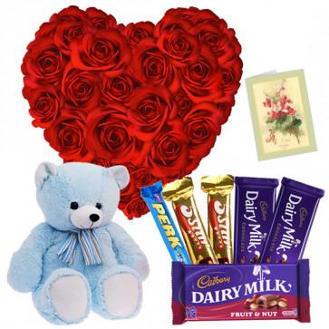 Heart for Heart - 30 Red Roses Heart Shape, Assorted Cadbury Hamper, Teddy Bear 6 inch + Card