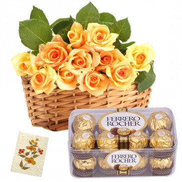 Giveaway - 12 Yellow Roses Basket, Ferrero Rocher 16 Pcs + Card