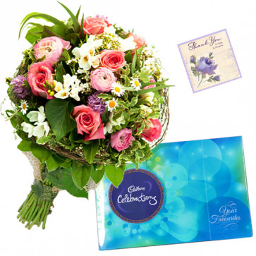 Divine Tribute - 14 Mix Flowers Bunch, Cadbury Celebration + Card