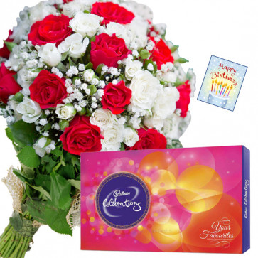 Red N White Delight - 12 Red & White Roses Bunch, Cadbury Celebrations + Card