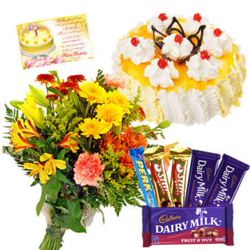 Richness of Love - 12 Mix Flowers Bunch, Assorted Cadbury Hampe, Pineapple Cake 1/2 kg + Card