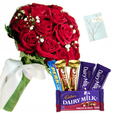 Smart Gift - 20 Red Roses Bunch, Assorted Cadbury Hamper + Card