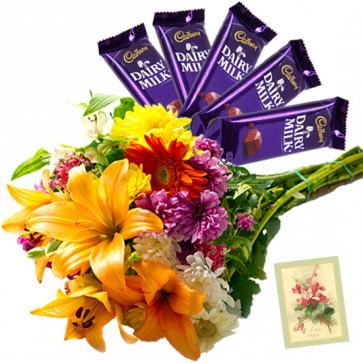 Token of Love - 20 Mix Flowers Bunch, 5 Dairy Milk + Card