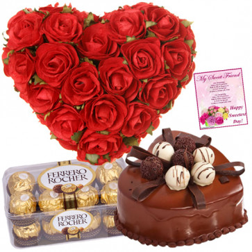 Strong Affection - 40 Red Roses Heart Shaped Arrangement Basket, Ferrero Rocher 16 Pcs, 1 Kg Heart Shaped Black Forest Cake + Card